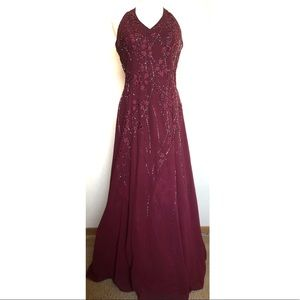 Burgundy Red Floral Long Halter Beaded Prom Dress
